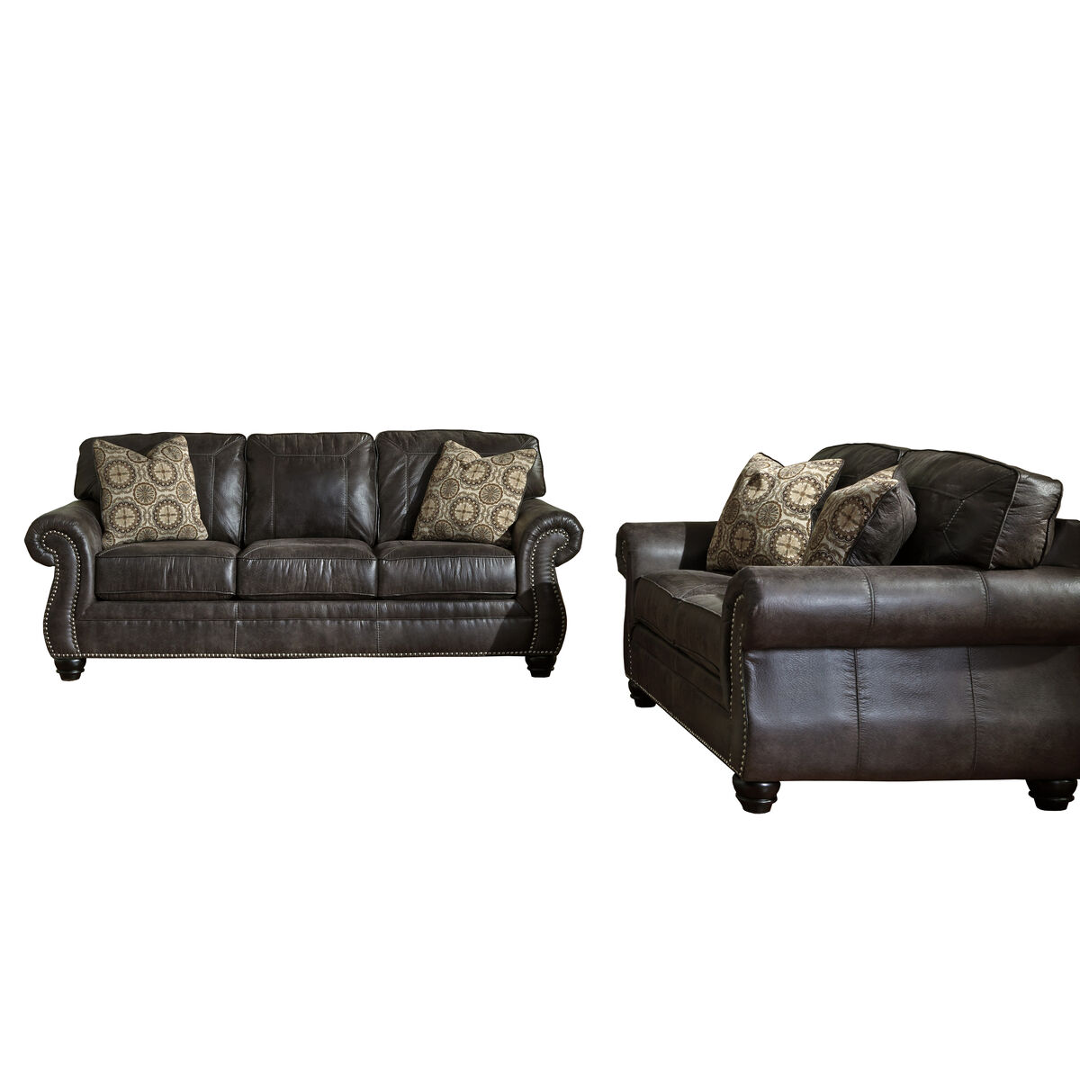 Enjoyable Benchcraft Breville Living Room Set In Charcoal Faux Leather Beatyapartments Chair Design Images Beatyapartmentscom