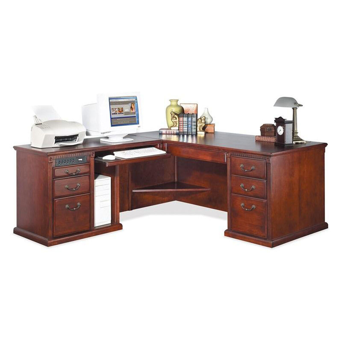 Our Kathy Ireland Home Trade Huntington Collection L Shaped Workstation With Left Return Vibrant Cherry
