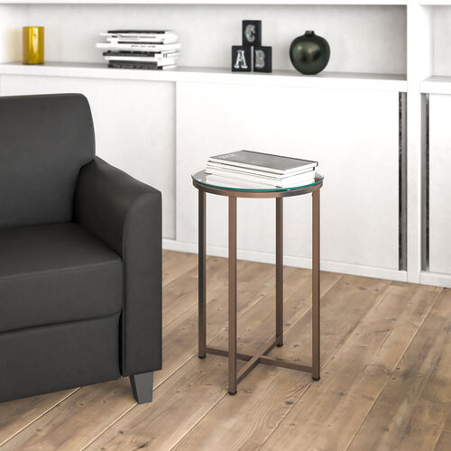 Greenwich Collection End Table - Modern Glass Accent Table with Crisscross Frame