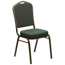 HERCULES Series Crown Back Stacking Banquet Chair in Green Patterned Fabric - Gold Vein Frame