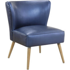 Ave Six Amity Side Chair with Solid Wood Legs in Sizzle Azure