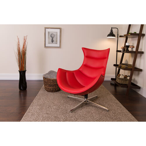 Our Red Leather Swivel Cocoon Chair is on sale now.
