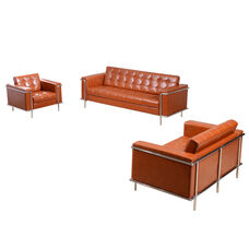 "HERCULES Lesley Series Reception Set in Cognac LeatherSoft with <span style=""color:#0000CD;"">Free </span> Tables"