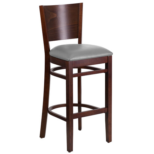 Our Walnut Finished Solid Back Wooden Restaurant Barstool with Custom Upholstered Seat is on sale now.
