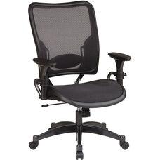 Space Air Grid Series Professional Air Grid Chair with Gun Metal Finish Accents - Black