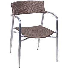 Brown Rattan Patio Chair with Arms