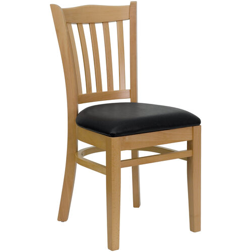 Our Natural Wood Finished Vertical Slat Back Wooden Restaurant Chair with Black Vinyl Seat is on sale now.