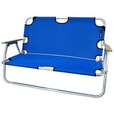 Two Person Folding Aluminum Frame Sport Couch with Storage - Royal Blue
