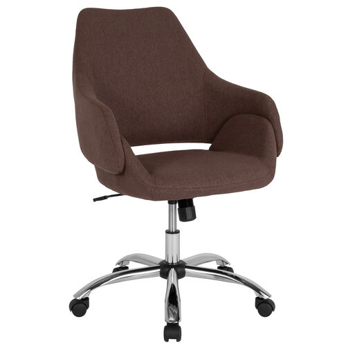 Madrid Home and Office Upholstered Mid-Back Chair in Brown Fabric