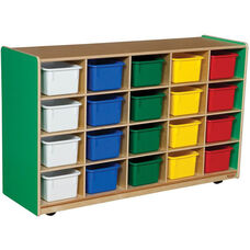 Wooden Mobile Storage Unit with 20 Assorted Plastic Trays - Green Apple - 48