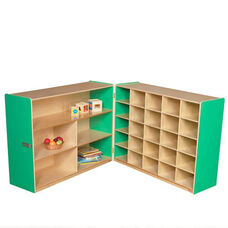 Half & Half Green Storage Shelf Unit with Rolling Casters and Twenty Five Cubbies - 96