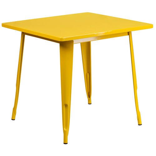 """Our Commercial Grade 31.5"""" Square Yellow Metal Indoor-Outdoor Table is on sale now."""