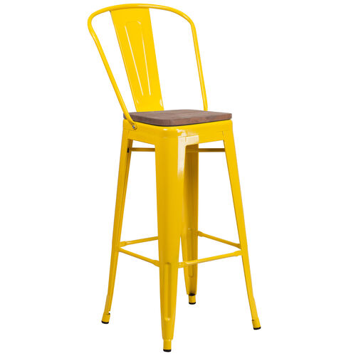 "Our 30"" High Yellow Metal Barstool with Back and Wood Seat is on sale now."