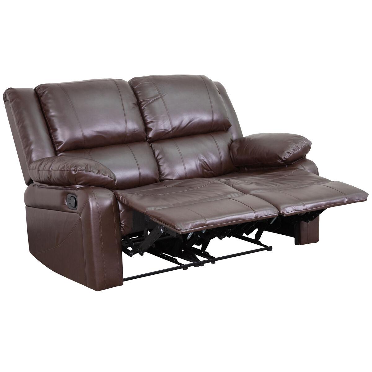 Cool Harmony Series Brown Leather Loveseat With Two Built In Recliners Inzonedesignstudio Interior Chair Design Inzonedesignstudiocom