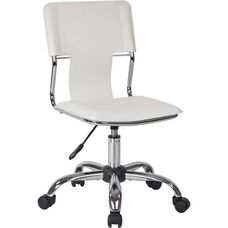 Ave Six Carina Vinyl Task Chair with Adjustable Seat Height and Chrome Base - White