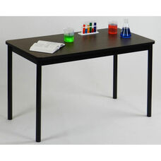 High Pressure Laminate Rectangular Lab Table with Black Base and T-Mold - Walnut Top - 36