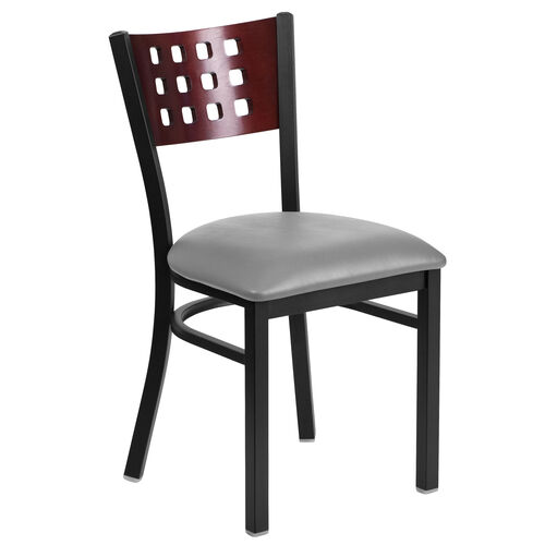 Our Black Decorative Cutout Back Metal Restaurant Chair with Mahogany Wood Back & Custom Upholstered Seat is on sale now.