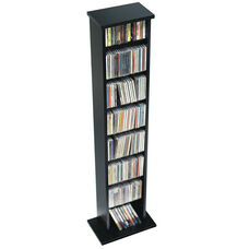 Slim Multimedia Storage Tower with 7 Adjustable Shelves - Black