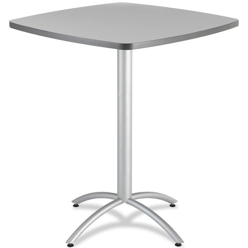 ... Our CafeWorks 42u0027u0027 Square Powder Coated Steel Frame Melamine Bistro  Table   Gray Is