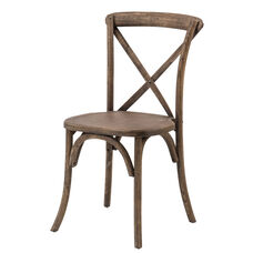 Rustic Sonoma Solid Wood Cross Back Stackable Dining Chair - Set of 2 - Dark Walnut