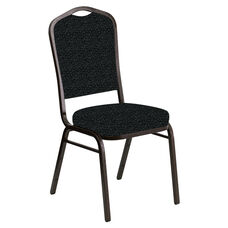 Embroidered Crown Back Banquet Chair in Lancaster Pewter Fabric - Gold Vein Frame