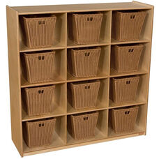 Wooden Cubby Storage Unit with 12 Medium Plastic Wicker Baskets - Wood - 48