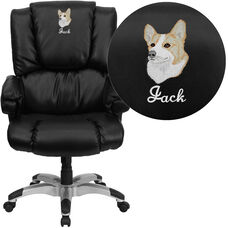Embroidered High Back Black LeatherSoft OverStuffed Executive Swivel Ergonomic Office Chair with Fully Upholstered Arms