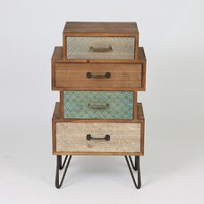 Chic Four Stacked Drawer Cabinet End Table