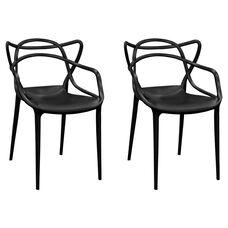 Black Plastic Indoor Loop Chair - Set of 2