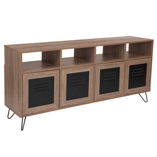 """Our Woodridge Collection 85.5""""W 4 Shelf Storage Console/Cabinet with Metal Doors in Rustic Wood Grain Finish is on sale now."""