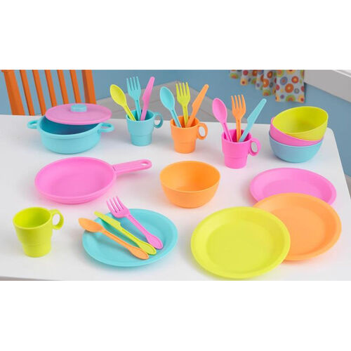 Our Kids Make-Believe 27 Piece Plastic Kitchen Cookware Play Set - Bright is on sale now.