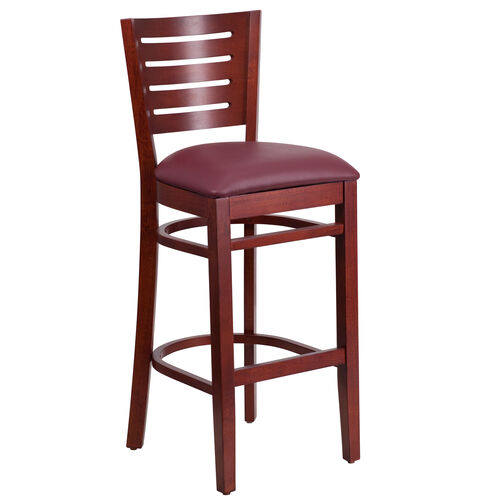 Our Mahogany Finished Slat Back Wooden Restaurant Barstool with Burgundy Vinyl Seat is on sale now.
