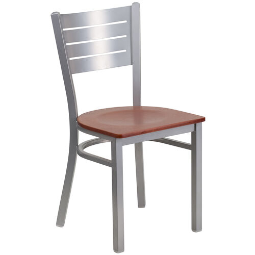 Our Silver Slat Back Metal Restaurant Chair with Cherry Wood Seat is on sale now.