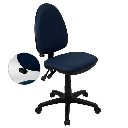 Our Mid-Back Navy Blue Fabric Multifunction Swivel Ergonomic Task Office Chair with Adjustable Lumbar Support is on sale now.