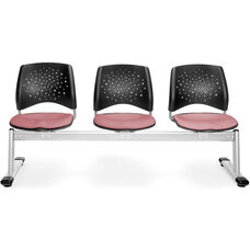 Stars 3-Beam Seating with 3 Fabric Seats - Coral Pink