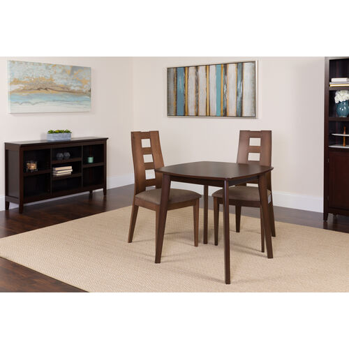 Our Cranston 3 Piece Espresso Wood Dining Table Set with Window Pane Back Wood Dining Chairs - Padded Seats is on sale now.