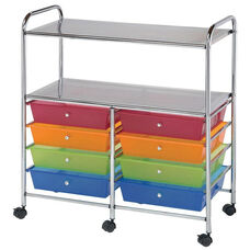 8 Drawer Chrome Frame Storage Cart with 2 Shelves - Multicolor