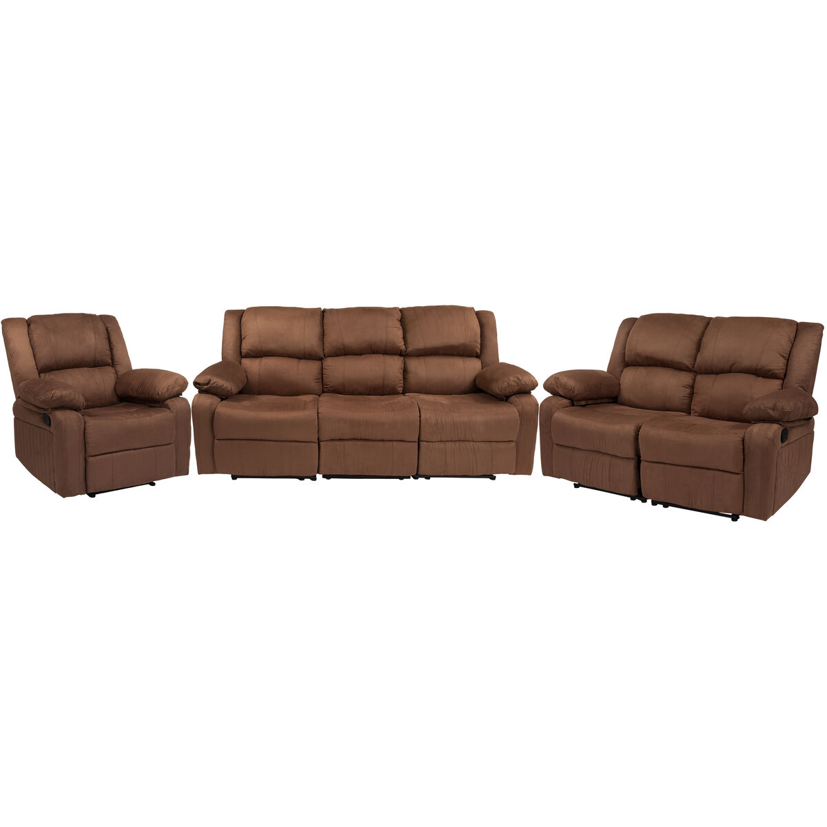 Our Harmony Series Chocolate Brown Microfiber Reclining Sofa Set Is On Now