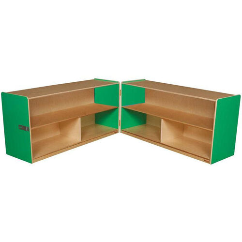 Wooden 6 Compartment Double Folding Mobile Storage Unit - Green Apple - 96
