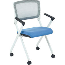 Space Pulsar Folding Chair with Breathable Mesh Back and Fabric Seat - Set of 2 - Sky