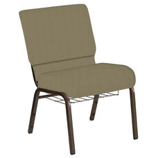 Embroidered 21''W Church Chair in Illusion Chic Tan Fabric with Book Rack - Gold Vein Frame