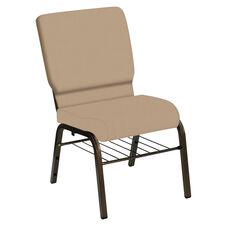 HERCULES Series 18.5''W Church Chair in E-Z Wallaby Neutral Vinyl with Book Rack - Gold Vein Frame