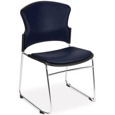 Multi-Use Stack Chair with Anti-Microbial and Anti-Bacterial Vinyl Seat and Back - Navy