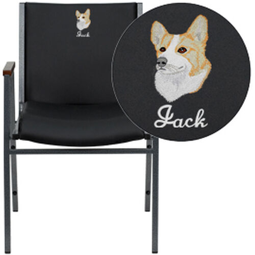 Our Embroidered HERCULES Series Heavy Duty Black Vinyl Stack Chair with Arms is on sale now.
