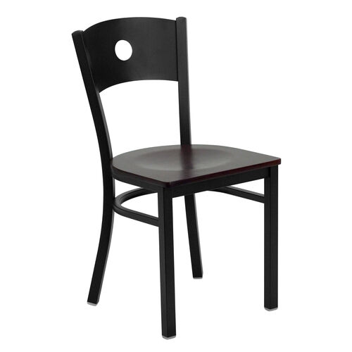 Our Black Circle Back Metal Restaurant Chair with Mahogany Wood Seat is on sale now.