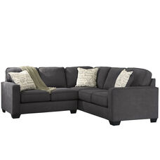Signature Design by Ashley Alenya 2-Piece Sofa Sectional in Charcoal Microfiber