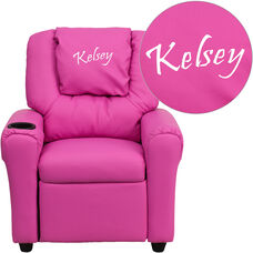Personalized Hot Pink Vinyl Kids Recliner with Cup Holder and Headrest