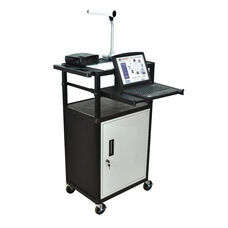 Molded Thermoplastic Resin Presentation Cart with Locking Cabinet and Front Slide-Out Shelf - Black - 24