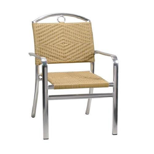 Our Honey Rattan Aluminum Patio Chair with Arms is on sale now.