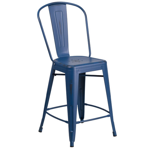 "Our Commercial Grade 24"" High Distressed Antique Blue Metal Indoor-Outdoor Counter Height Stool with Back is on sale now."